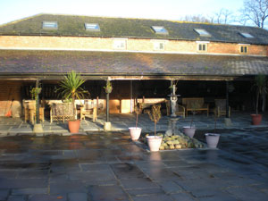A view of the courtyard with seating area